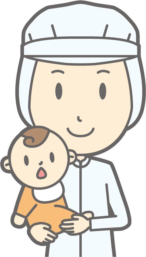 衛生服を着た看護師と赤ちゃん