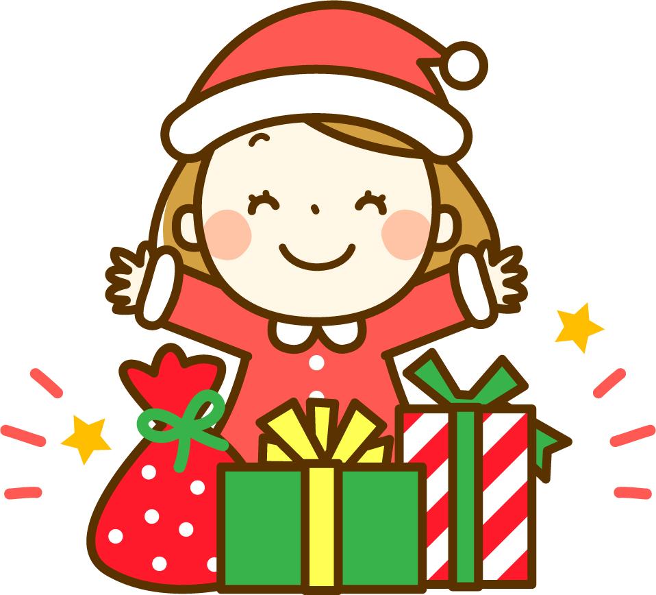 プレゼントをもらって喜ぶ女の子